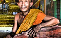Buddhist Monk at Kompong Phhluk, near Siem Reap, Cambodia