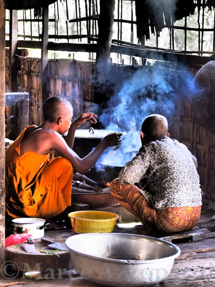 Young Buddhist Monk & cook at Kompong Phhluk, near Siem Reap, Cambodia