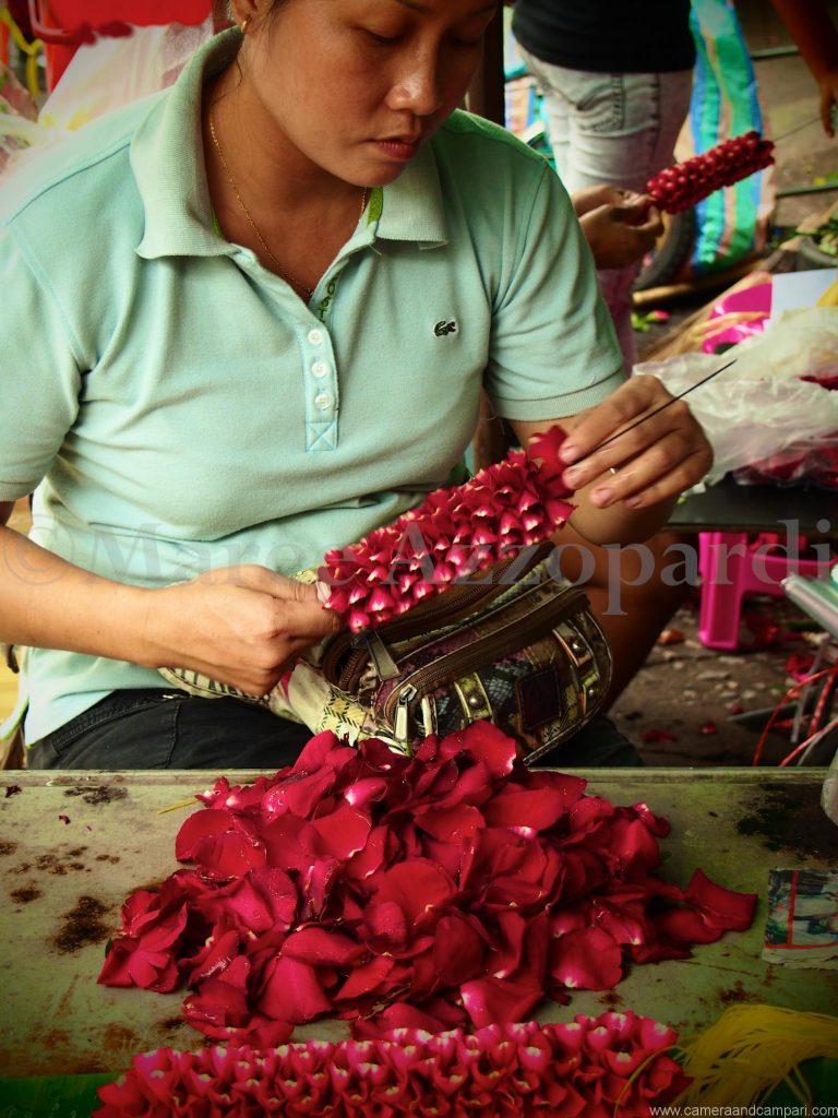Threading garlands