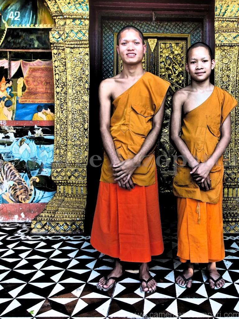 Novice Nut & friend at Temple Luang Prabang