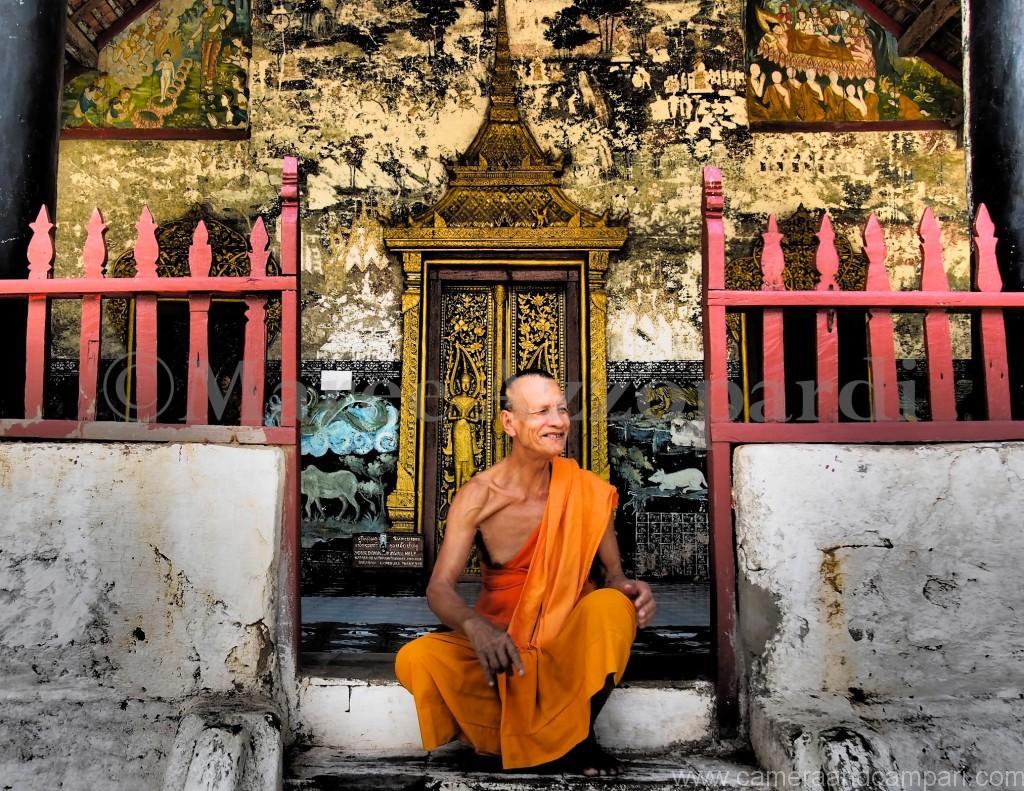 Monk near Pak Ou Caves Luang Prabang Laos